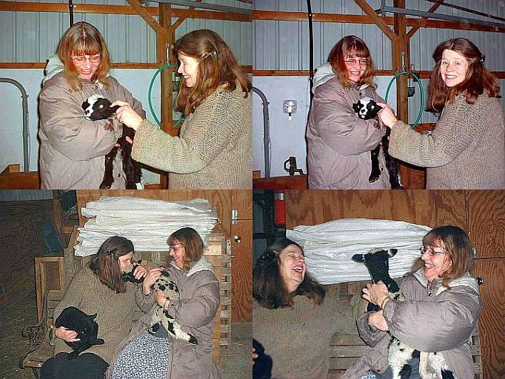 Niki and Candi Stiles with newborn lambs