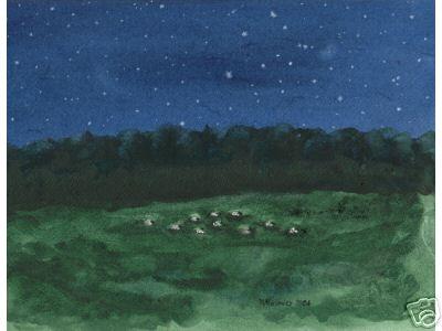 11 Sheep Flock at Night