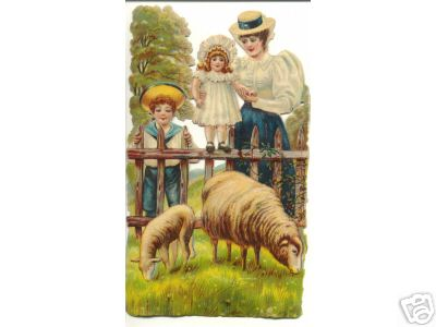 1880S Family Looks at Sheep