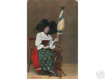 1910S Lady From Elzas with Spinningwheel