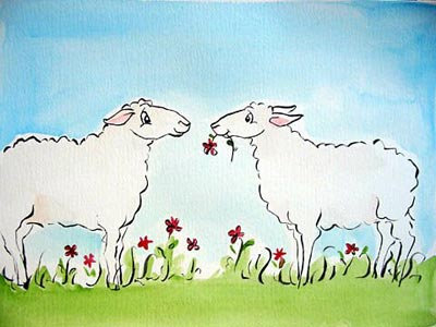 2 Ewes with a Flower