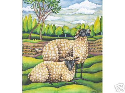 2 Sheep on Spring Pasture