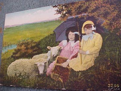 2 Umbrella Girls with Sheep
