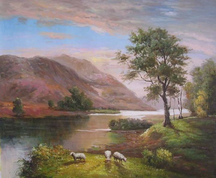 3 Sheep Graze By River