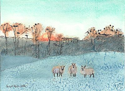 3 Sheep in a Winter Sunset