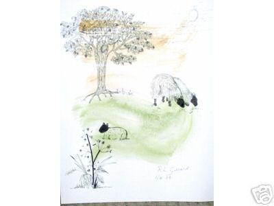 3 Sheep Watercolor