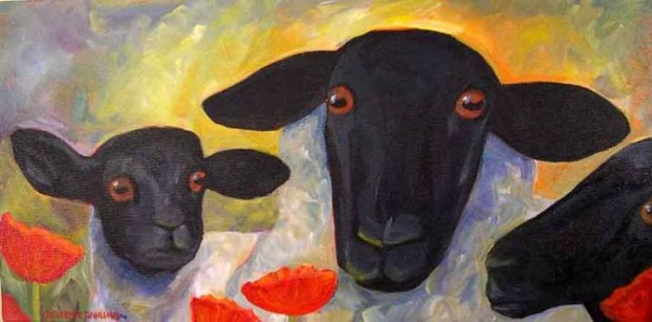 3 Sheep with Poppies