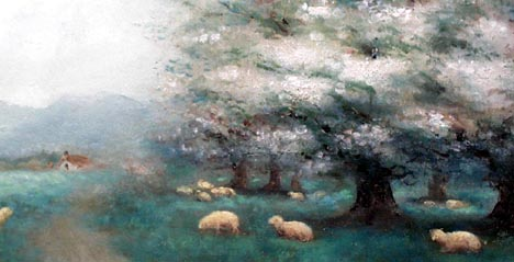 Blooming Trees and Sheep