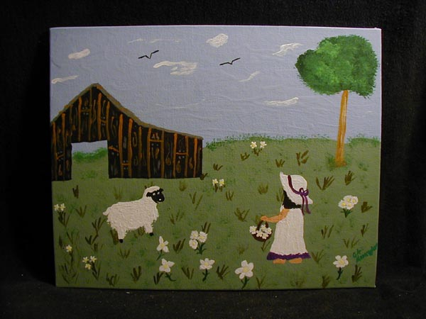 Child with Daises and Sheep