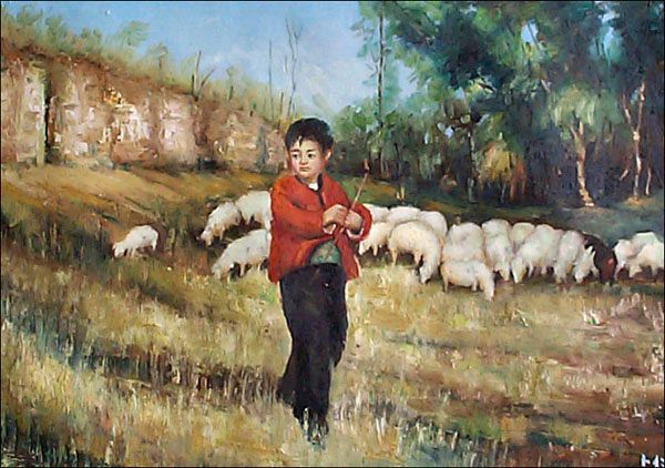 Chinese Boy with Sheep