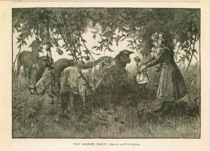 Engraving Girl Shows Her Doll to Sheep