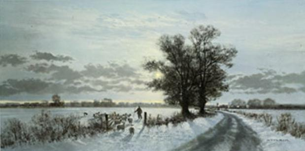 Gerald Coulson Winter Farm Landscape