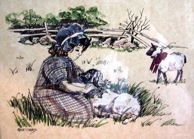 Girl Ties Bows on Lambs