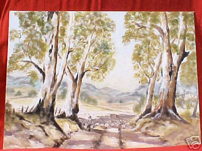 Herding Sheep Drover Painting Australian