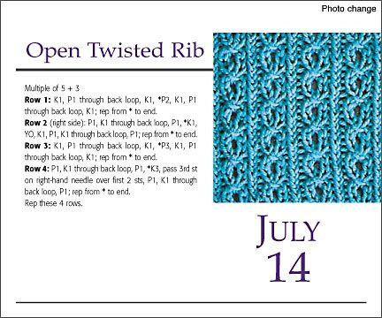 KNITTING TWISTED RIB Free Knitting Projects