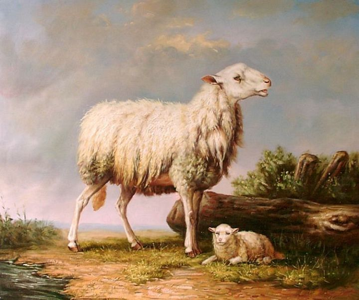 Painting of a Ewe and Her Lamb