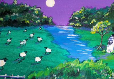 Sheep By the River in Moonlight