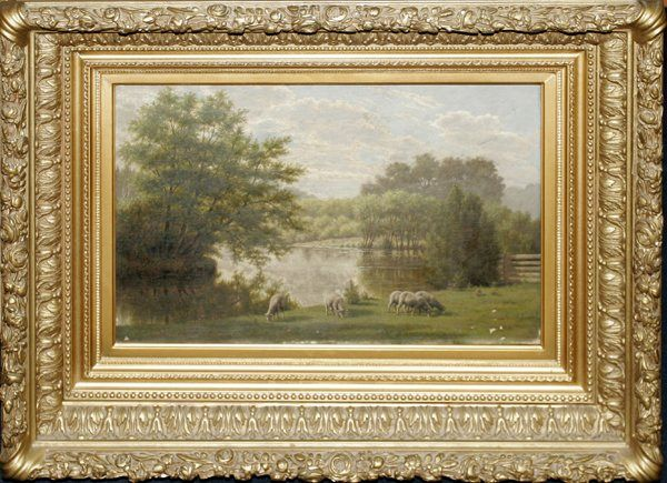 Sheep Grazeing By Lake