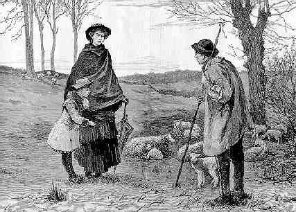 Shepherd Andsheep and Woman and Child