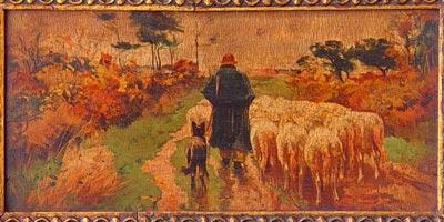 Shepherd with Sheep on the Moor