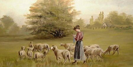 Shepherdess Knitting Socks with Sheep