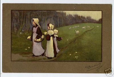 Two Girls with Bonnets Flowers Sheep