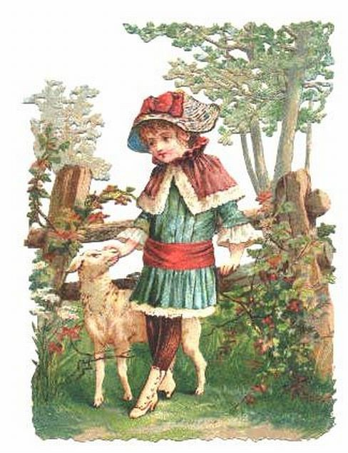 Victorian Scrap Girl with Sheep