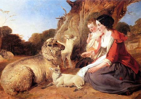 Woman with Child Ewe with Twins