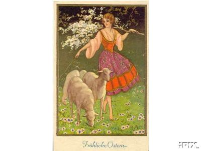 Woman with Flowering Branch and Sheep