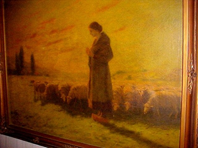 Woman with Sheep at Sunset