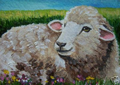 Young Sheep Painting